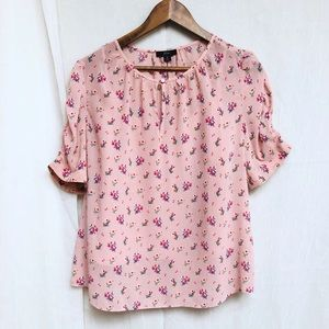 J crew Pink Floral Short sleeve Top